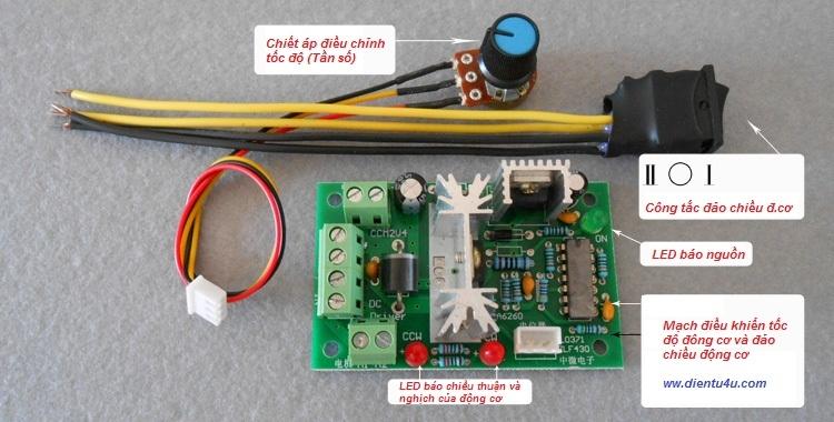 Mạch điều khiển tốc độ và đảo chiều động cơ DC 10V-36V 150W