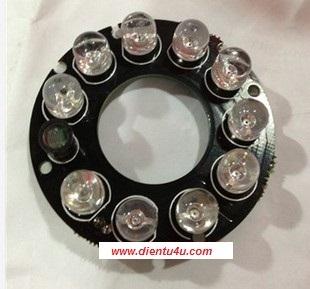 10 LED hồng ngoại 8mm Camera